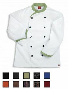 NWT-Dickies-CW070303-Contrast-Trim-Executive-Chef-Coat-34-62-WHITE-Twill-Stretch