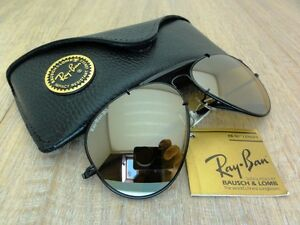 VINTAGE-RAY-BAN-B-L-USA-62mm-1st-serie-THE-GENERAL-BLACK-GOLD-MIRROR-LENSES-NOS