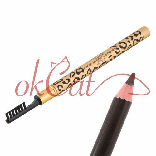 Leopard Waterproof Brown Eyebrow Pencil Pen With Brush Make Up Gadget