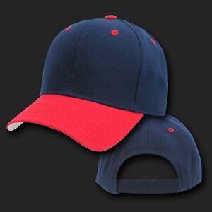 Navy Blue & Red Blank Plain Adjustable Golf Tennis ...