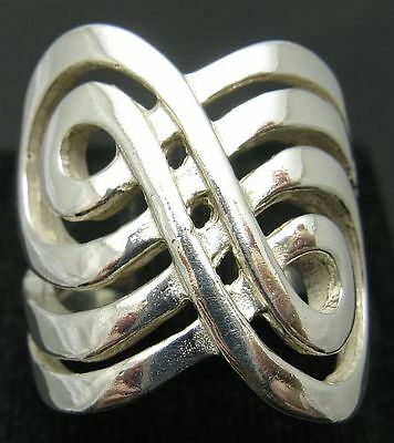 STYLISH STERLING SILVER RING SPIRAL SOLID 925 NEW SIZE J - T