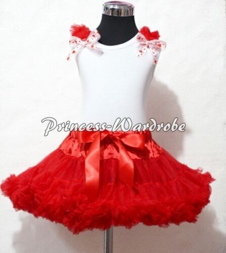 Hot Red Pettiskirt Skirt White Pettitop Top in Red Heart Bows Ruffle Set 1-8Y