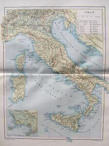 Antique-map-Italy-Mappa-antica-Italia-landkaart-Italie-1897