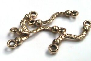 10-x-23mm-Antique-Golden-Tibetan-Silver-Twisted-Connector-Beads-FREE-UK-P-P-E71
