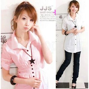 Korea-Sweet-Lady-Women-Girls-Short-Sleeve-Slim-Tunic-Cotton-Casual-Shirt-Tops