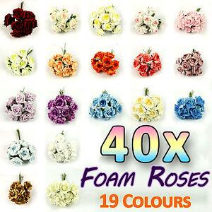 40x-40x-LOT-Artificial-Medium-Foam-Roses-Wedding-Flowers-19-Colours-Fake-Silk