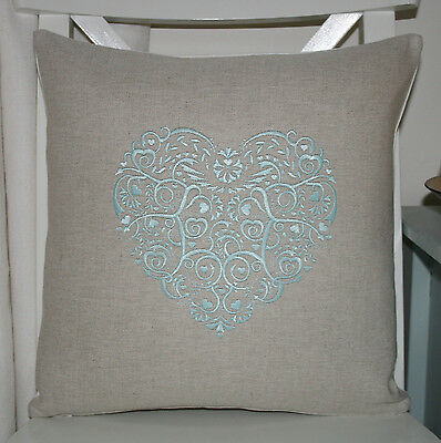 Laura Ashley Natural Austen Cushion Cover with Duck Egg Lace Heart Embroidery