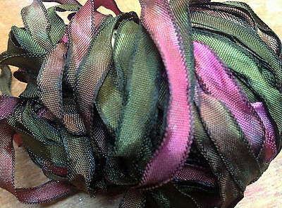 "CURLY RIBBON 1/4"" Rayon BLACK EDGE 5yd Made in USA Dolls Knit Hair"