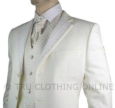 Mens Wedding Party Suit Cream Gold Striped Design Waistcoat, Crovat & Handkerchi
