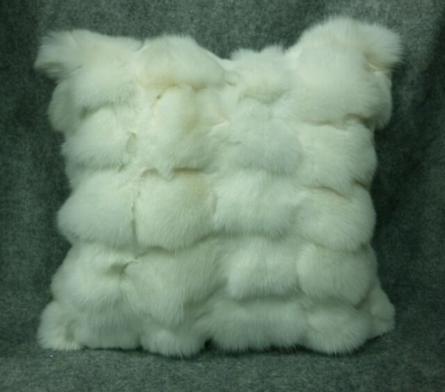 Fox Fur Pillow New made in usa  real authentic genuine white fox fur sections