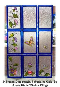 9 panel door window film static cling sun catcher for Decorative window film stained glass victorian
