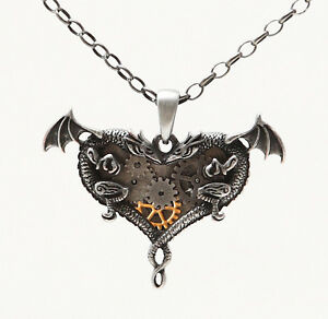 STEAMPUNK-GEARWORK-DUAL-DRAGONS-HEART-NECKLACE-ALLOY-PENDANT-FASHION-JEWELRY
