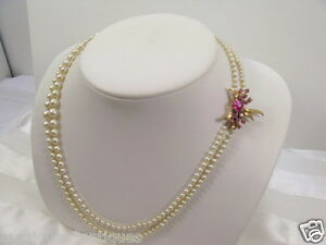 Double-Strand-3-7-5MM-Graduated-Pearls-14K-Y-G-Ruby-Clasp-20-034-L