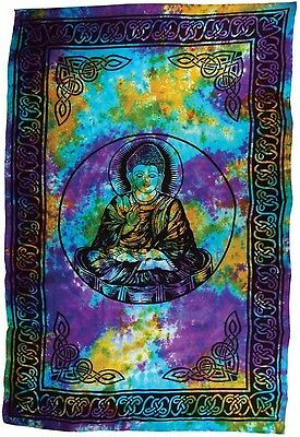 NEW! HUGE 6' x 9' Tie Dye BUDDHA Tapestry Blanket BedSpread Wall Hanging