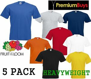 5-MENS-FRUIT-OF-THE-LOOM-HEAVY-COTTON-T-SHIRTS-CHOOSE-YOUR-PACK-COLOUR-SIZE
