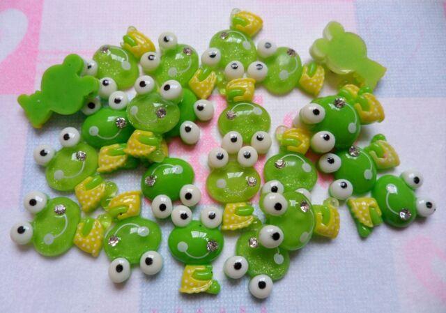 Resin Green Keroppi Gem Smile Flatback Scrapbooking DIY Embellishments Kawaii