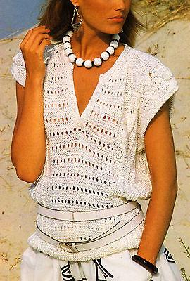 """Cotton Top Eyelet Panel with Tulip & Rib Motif  DK 32"""" - 38"""" Knitting Pattern"""