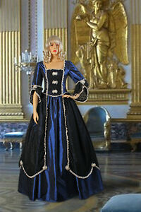 Medieval-Renaissance-or-Gothic-Style-Dress-Gown-Handmade-from-Taffeta