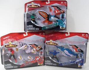 Power-Rangers-Samurai-Lot-of-3-Red-Blue-Green-SwordfishZord-TigerZord-BeetleZord