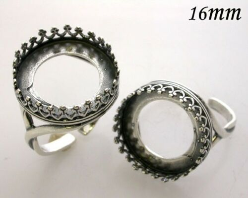 Quality Cast 16mm Bezel Cup Ring for Setting  Antique Sterling Silver 925 (8482)