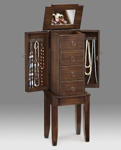 WOODEN FREE STANDING UPRIGHT JEWELRY ARMOIRE STORAGE CASE ...