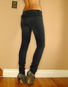 442-Alexander-McQueen-Italy-Skinny-Slim-Leg-High-Waist-Vintg-Black-Jeans-26-NWT