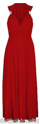 LADIES LONG STRETCH WOMENS MAXI DRESS SPRING COIL EVENING DRESSES 6 8 10 12 14