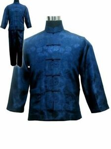 chinese-mens-sleepwear-silk-satin-kung-fu-tai-chi-Clothes-kungfu-suits-blue
