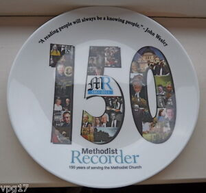 DECORATIVE-BONE-CHINA-PLATE-150-YEARS-METHODIST-RECORDER-CHOWN-CHINA