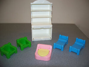 DOLLHOUSE FURNITURE ACCESSORIES PLAYSKOOL VINTAGE CHAIRS BEDS POTTY CHAIR LOT