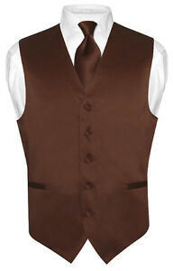 Mens-CHOCOLATE-BROWN-Tie-Dress-Vest-and-NeckTie-Set-for-Suit-or-Tuxedo