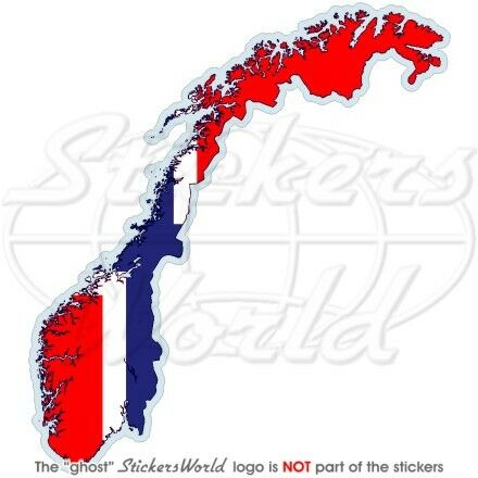 NORWAY Map-Flag Kongeriket Norge, Norwegian Noreg Vinyl Bumper Sticker, Decal