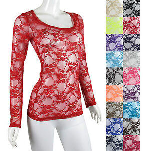 SCOOP-NECK-Long-Sleeve-FULL-Floral-Lace-STRETCH-Layering-T-shirt-Top-Blouse-NEW