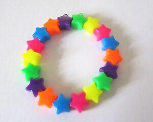 Kitsch-Neon-Rainbow-Plastic-Star-Bead-Elastic-Bracelet-Retro-Emo-Goth