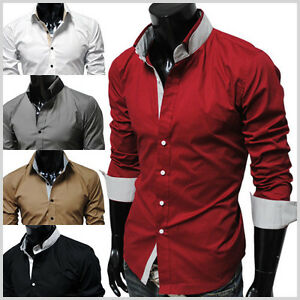 DCH-TheLees-NWT-Mens-casual-unique-double-collar-slim-Dress-Shirts-5-Colors
