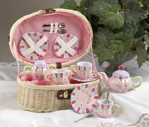 CHILDRENS-TEA-SET-FOR-2-Daisy-Dot-Pink-Purple-Dots-BASKET-Childs-Large-SZ-NEW