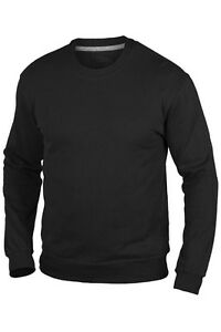 Hanes-Plain-BLACK-100-Organic-Cotton-Sweatshirt-Jumper-Sweater-S-XXXL