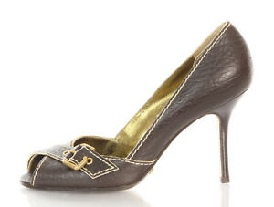 Authentic-DOLCE-GABBANA-Brown-Open-Toed-Buckle-Pumps-Size-37-7-Shoes