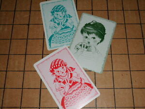 Lot-of-3-Vintage-I-Win-Math-Playing-Cards-2-Girl-Fortune-Tellers-1-Boy