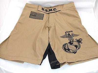 USMC MARINES DESERT TAN MMA PT S-T-COMP BOARD SHORTS FIGHT SHORTS SIZES S - 4XL