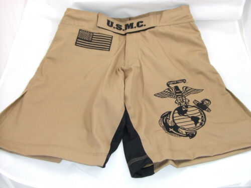 USMC MARINES DESERT TAN MMA PT S-T-COMP BOARD SHORTS FIGHT SHORTS SIZES S - 4XL