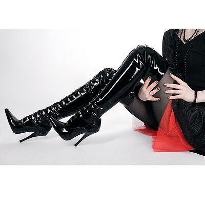 Lackstiefel Herrenschuhe Damenschuhe Stiefel Overknee schwarz Schuhe Unisex