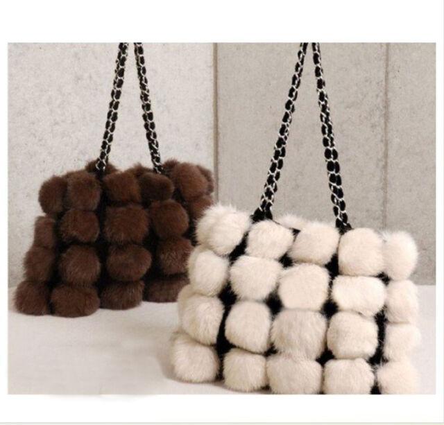 Classic New Real Rabbit Fur Handbag Fashion Charm Bag Hot Shoulder Bag QDLT8992