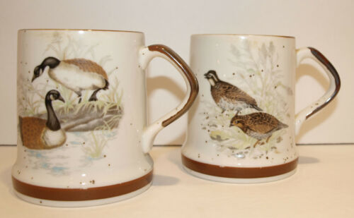 Coffee Mugs Set of 2 Wildlife Bird Quail Goose Cabin Ourtdoor Manly Camp Rustic