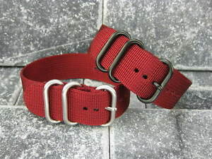 New-18mm-Red-Nylon-Diver-Strap-3-Rings-Watch-Band-Military-ZULU-Maratac-18