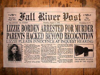 """(259) NOVELTY POSTER HALLOWEEN LIZZIE BORDEN ACCUSED OF MURDER FALL RIVER 11x17"""""""