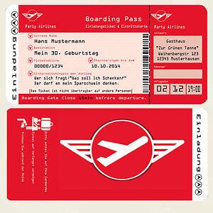 Das Bild Wird Geladen 50 Einladungskarten Fuer Geburtstag Flugticket Ticket  Party Einladungen