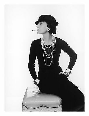 COCO CHANEL FAMOUS FRENCH FASHION DESIGN SMOKING 2 PROFILE PHOTO  8x10 PICTURE