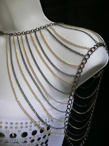 NEW-HOT-WOMEN-GOLD-BLACK-MULTI-LAYERS-METAL-SHOULDER-BODY-HARNESS-CHAINS-JEWELRY