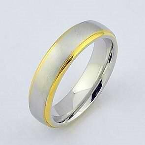 silver and gold genuine stainless steel s ring wedding